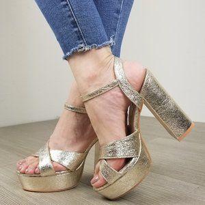 Metallic Gold Open Toe Platform Heels